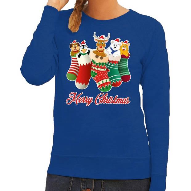 Foute Kersttrui / sweater kerstsokken met diertjes - Merry Christmas - blauw voor dames XS (34)