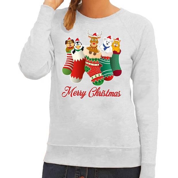 Foute Kersttrui / sweater kerstsokken met diertjes - Merry Christmas - grijs voor dames S (36)