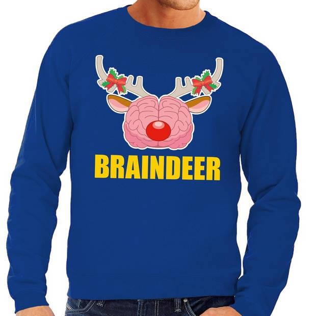 Foute kersttrui / sweater braindeer blauw voor heren - Kersttruien M (50)