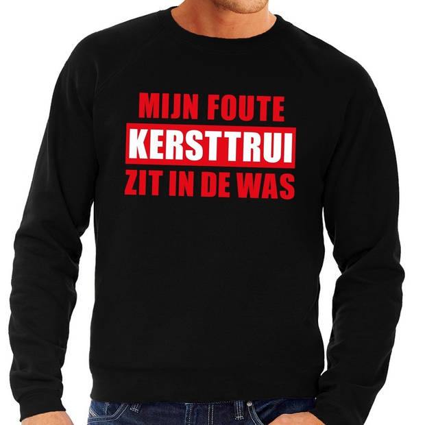 Foute kersttrui / sweater - zwart - Mijn Foute Kersttrui Zit In De Was voor heren XL (54)