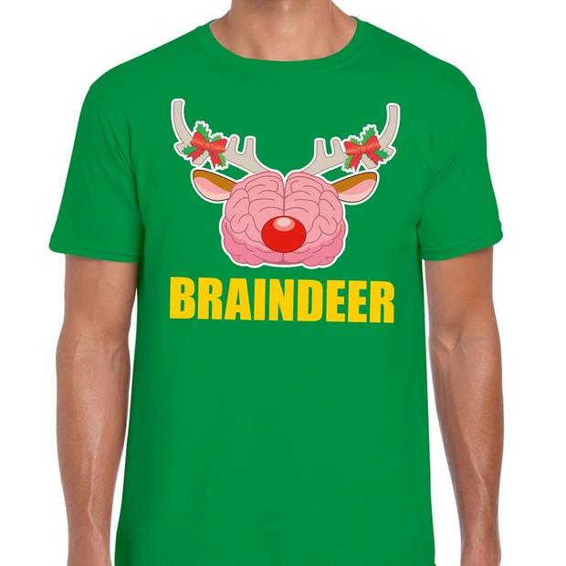 Foute Kerst t-shirt braindeer groen voor heren L