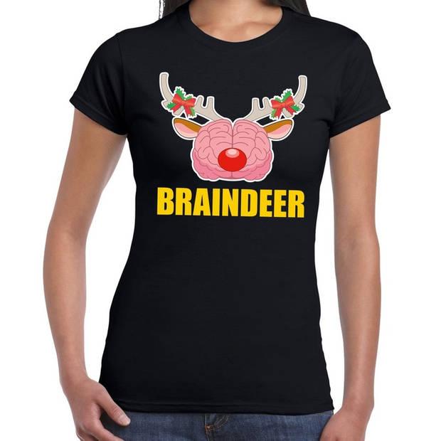 Foute Kerst t-shirt braindeer zwart voor dames S (36)