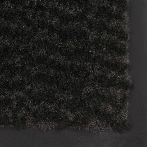 vidaXL Droogloopmat rechthoekig getuft 80x120 cm zwart