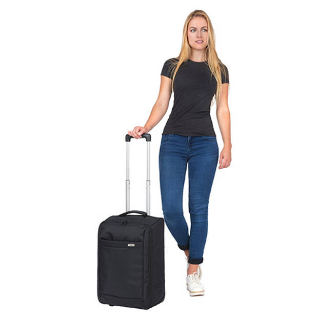 TravelZ - Handbagage trolley - Handbagagekoffer 51cm - Ultralicht 1,7kg - 2 wiel - Volledig gevoerd - Zwart