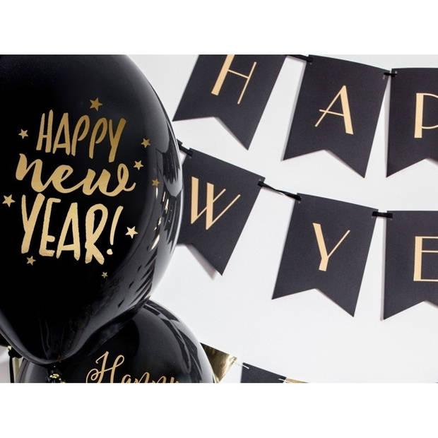 6x Zwarte Happy New Year ballonnen sterren nieuwjaar