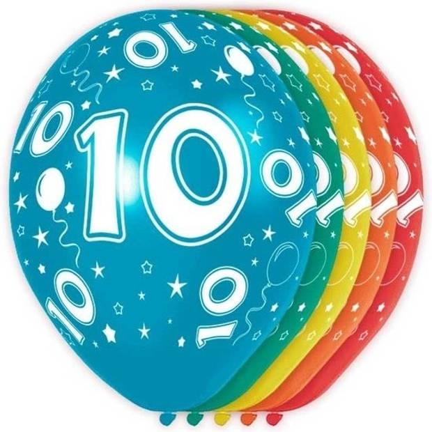 5x stuks gekleurde 10 Jaar thema versiering heliumballonnen 30 cm - feestartikelen/versiering