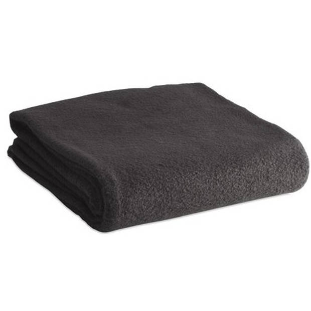 Fleece deken/plaid zwart 120 x 150 cm
