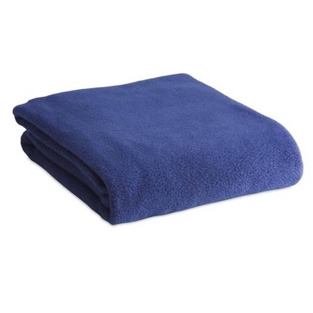 Fleece deken/plaid blauw 120 x 150 cm