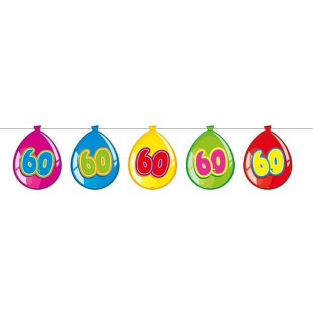 60 Jaar verjaardag leeftijd versiering ballon slingers van 10 meter - Feestartikelen/versiering