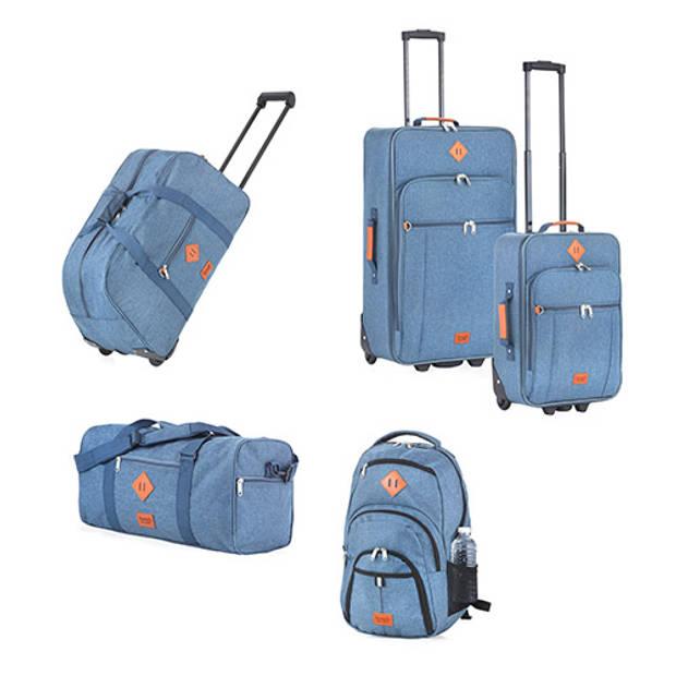 TravelZ - Hipster - Wieltas - Reistas met wielen - 51 liter - Jeans Blauw