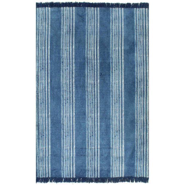 vidaXL Kelim vloerkleed met patroon 160x230 cm katoen blauw