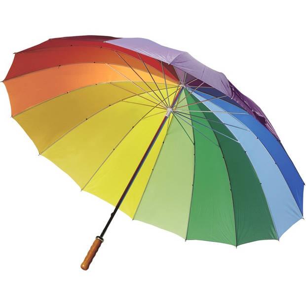 Regenboog paraplu met houten handvat 130 cm