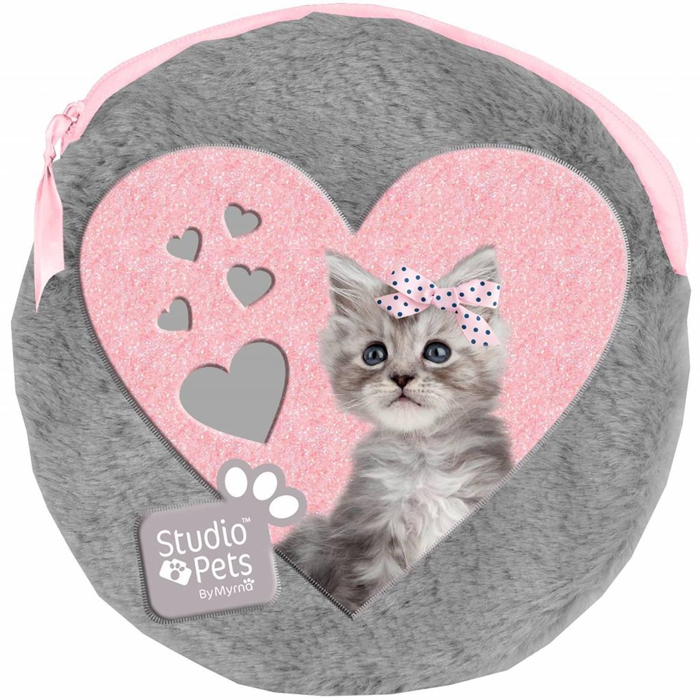 Studio Pets Sweet Kitty Rond Pluche Etuitje Inclusief 2 Notebooks 13 X 13 Cm Grijs