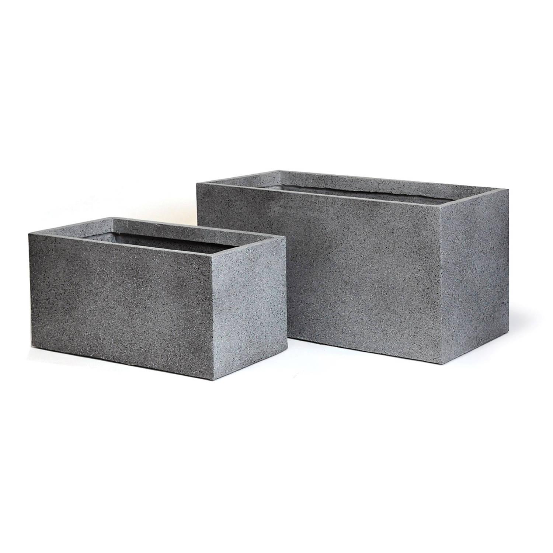 Pot rechth. granito l80b40h40 grijs