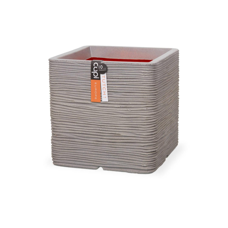 Capi Nature pot vierkant rib NL 40x40x40 - licht grijs