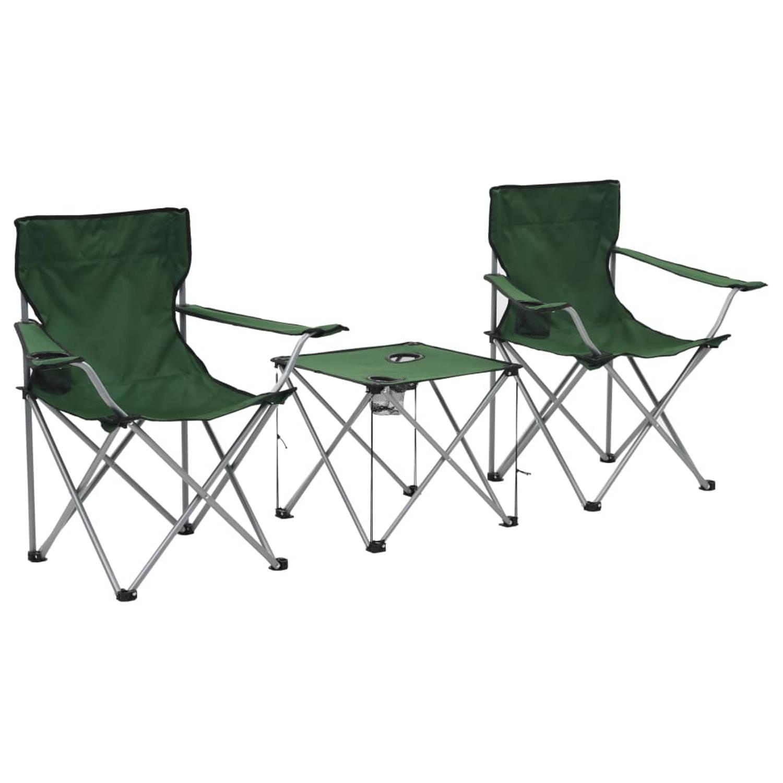 vidaXL Campingtafel en -stoelenset groen 3-delig