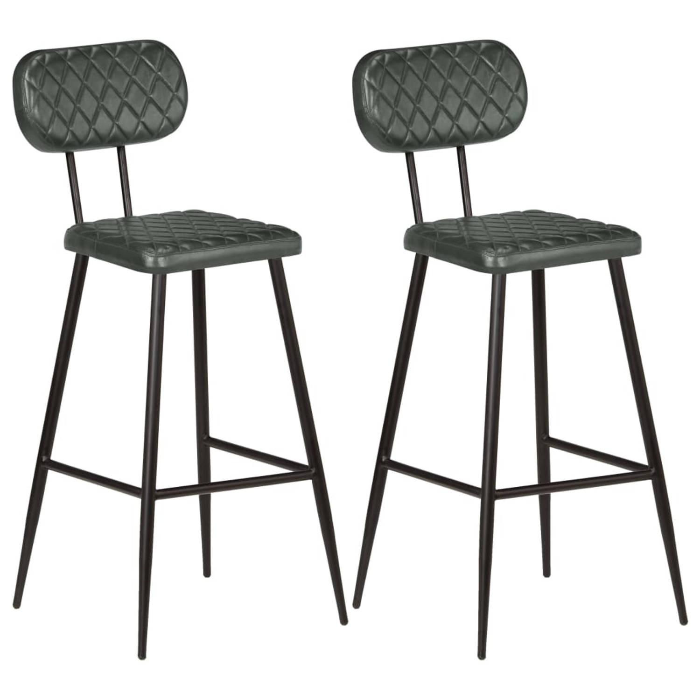 vidaXL Barstoelen echt leer grijs 2 st