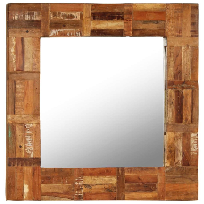 vidaXL Wandspiegel 60x60 cm massief gerecycled hout