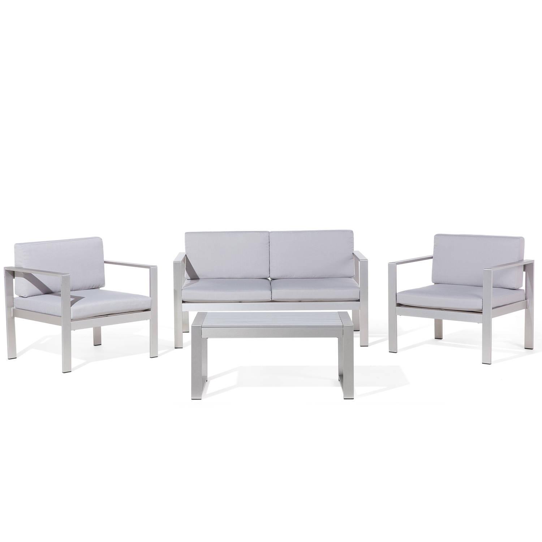 Aluminium tuinset lichtgrijs zitgroep tafel + tuinbank + 2 stoelen SALERNO