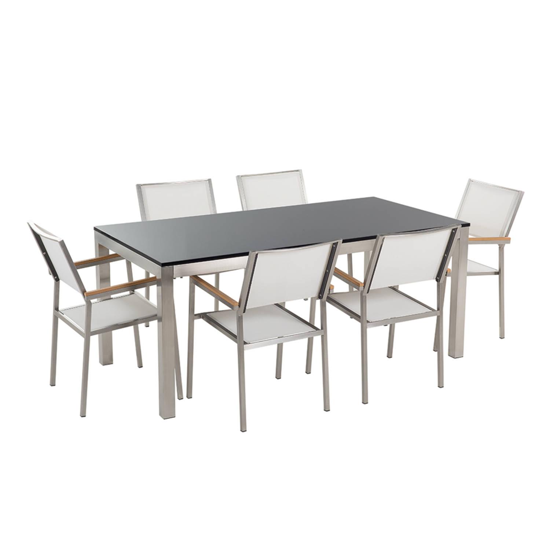 Tuinmeubel granieten tuintafel single 180 cm zwart gepolijst met 6 witte stoelen GROSSETO