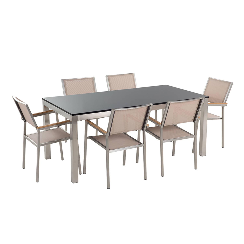 Tuinmeubel granieten tuintafel single 180 cm zwart gepolijst met 6 beige stoelen GROSSETO