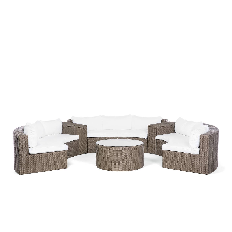 Tuinmeubel lichtbruin wickermeubel polyrotan loungeset bank + tafel SEVERO