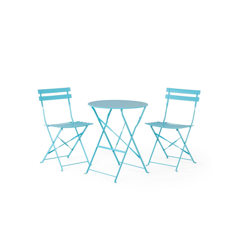 Beliani Fiori Balkonset Blauw Staal 52x45,5x80