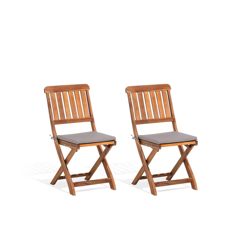 Beliani Cento Tuinstoel set van 2 Donker houtkleur Hout 46x50x90