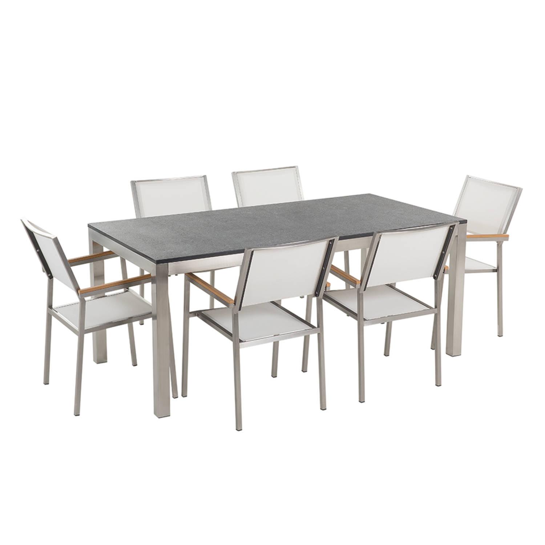 Tuinmeubel granieten tuintafel single 180 cm zwart gevlamd met 6 witte stoelen GROSSETO