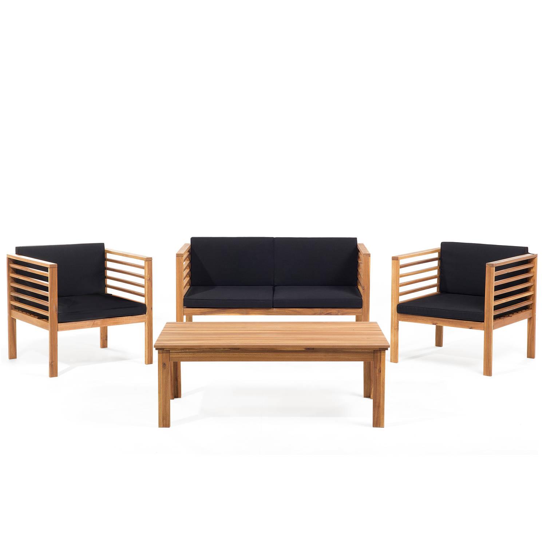 Tuinmeubel bruin balkonmeubel terrasmeubel tafel bank 2 stoelen hout PACIFIC
