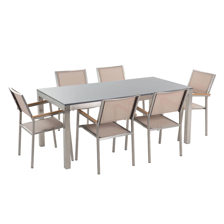 Tuinmeubel granieten tuintafel single 180 cm grijs gepolijst met 6 beige stoelen GROSSETO