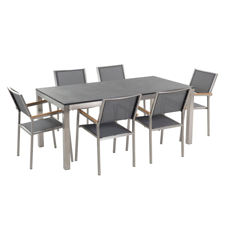 Tuinmeubel granieten tuintafel single 180 cm zwart gevlamd met 6 grijze stoelen GROSSETO