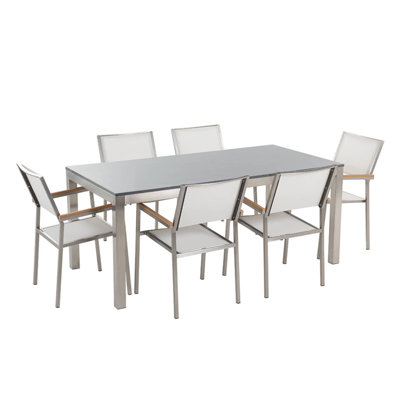 Tuinmeubel granieten tuintafel single 180 cm grijs gepolijst met 6 witte stoelen GROSSETO