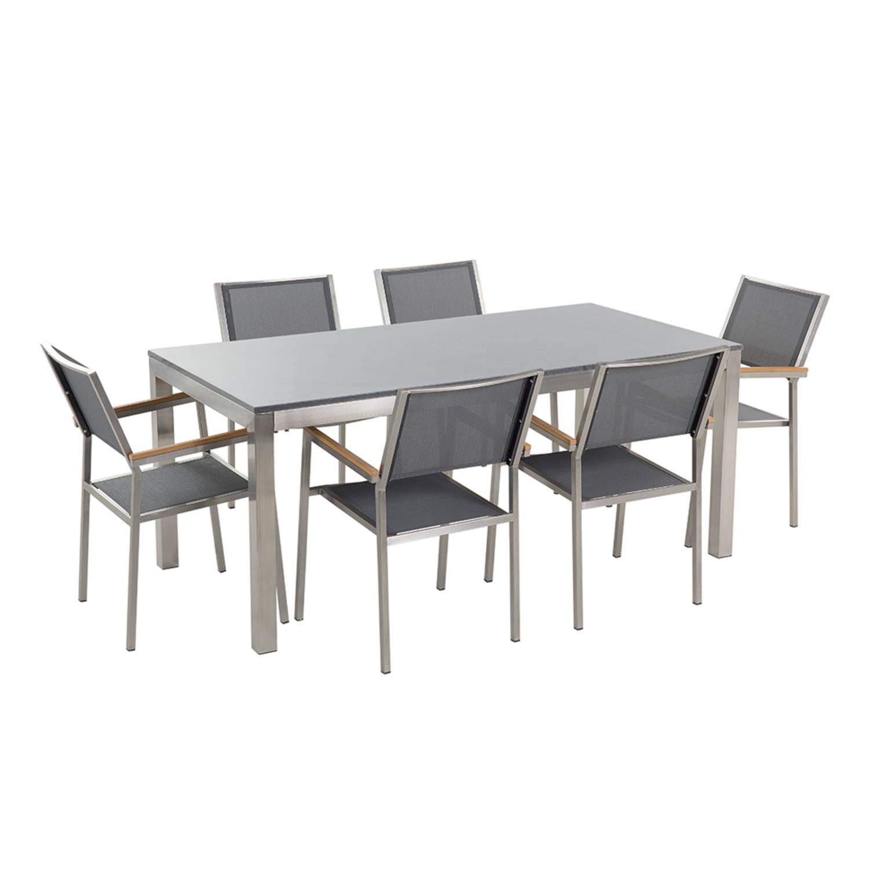 Tuinmeubel granieten tuintafel single 180 cm grijs gepolijst met 6 grijze stoelen GROSSETO