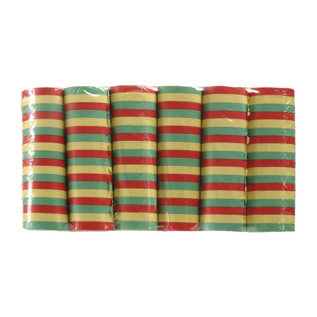 Boland serpentine carnaval 6 rollen 4 m rood/groen/geel