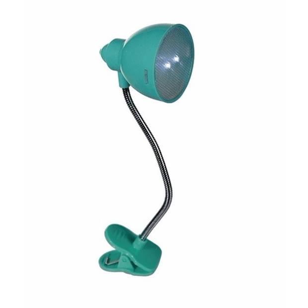 LED Leeslampje met klem voor boeken of bladmuziek - turquoise / blauw - Inclusief batterijen