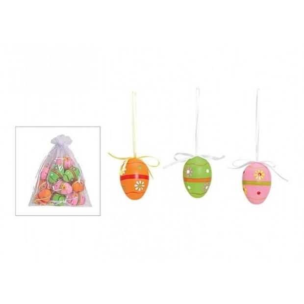 12x Pasen hangdecoratie paaseieren gekleurd bloemen motief - Paasversiering / Paasdecoratie