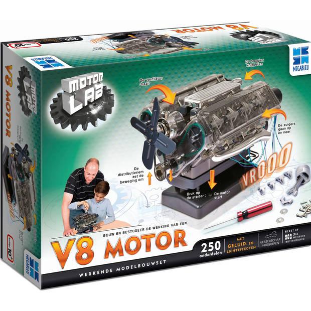Megableu bouwmodelset Motor Lab: V8 motor 250-delig