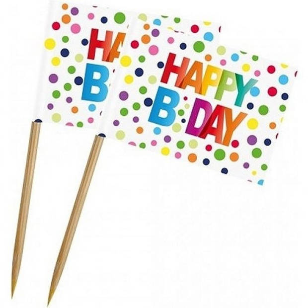 50x stuks Happy B-day cocktailprikkers met stippen 6,5 cm - Happy Birthday thema feestartikelen