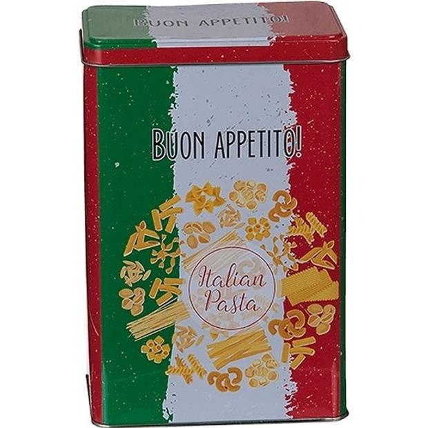 Metalen pasta voorraadblik/bewaarblik 12 x 18 cm rechthoekig