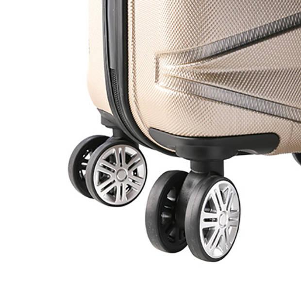 TravelZ - Diamond - Koffer 76cm- TSA - ABS Trolley - Volledig gevoerd - Dubbele wielen - Champagne