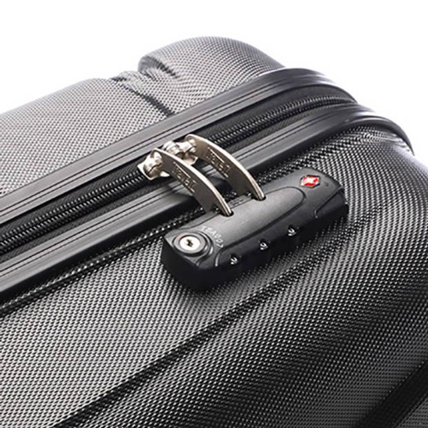 TravelZ - Diamond - Koffer 76cm- TSA - ABS Trolley - Volledig gevoerd - Dubbele wielen - Zwart