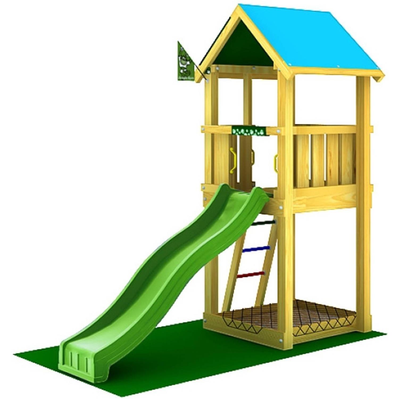 Jungle Gym Speeltoren Castle met Houtpakket en Glijbaan