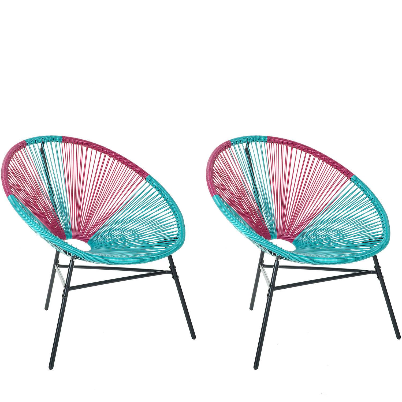 Beliani Acapulco - Tuinstoel Set Van 2-blauw-pe Rotan
