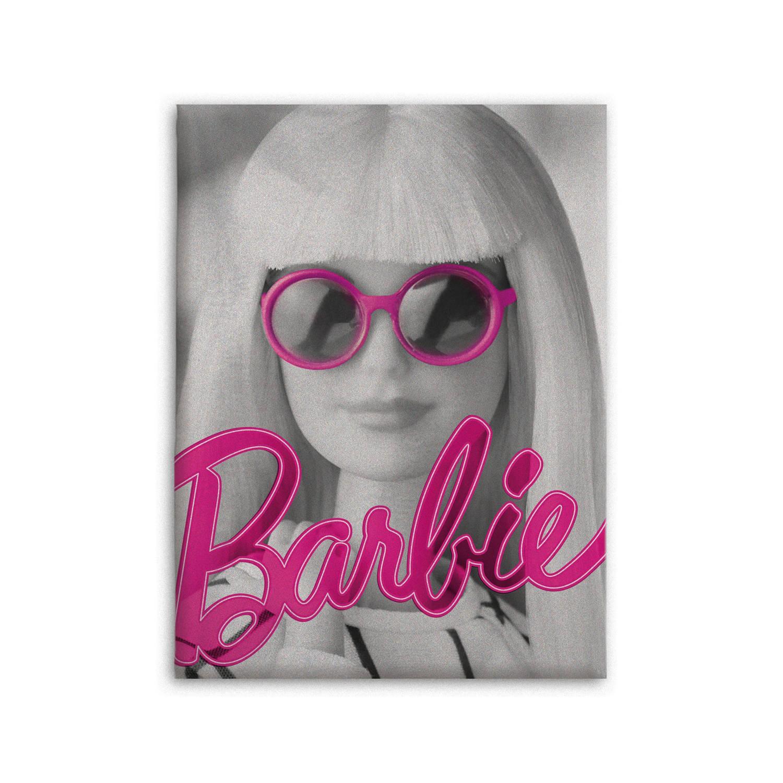Barbie fleecedeken 130 x 170 cm grijs/roze