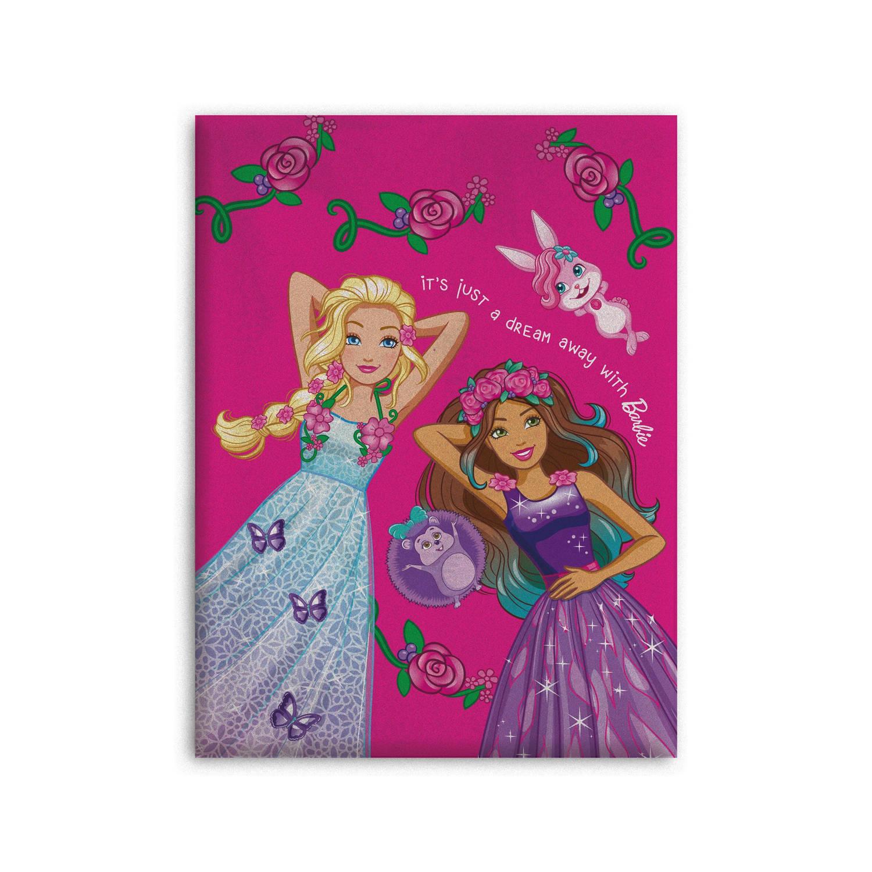 Barbie fleecedeken 130 x 170 cm roze