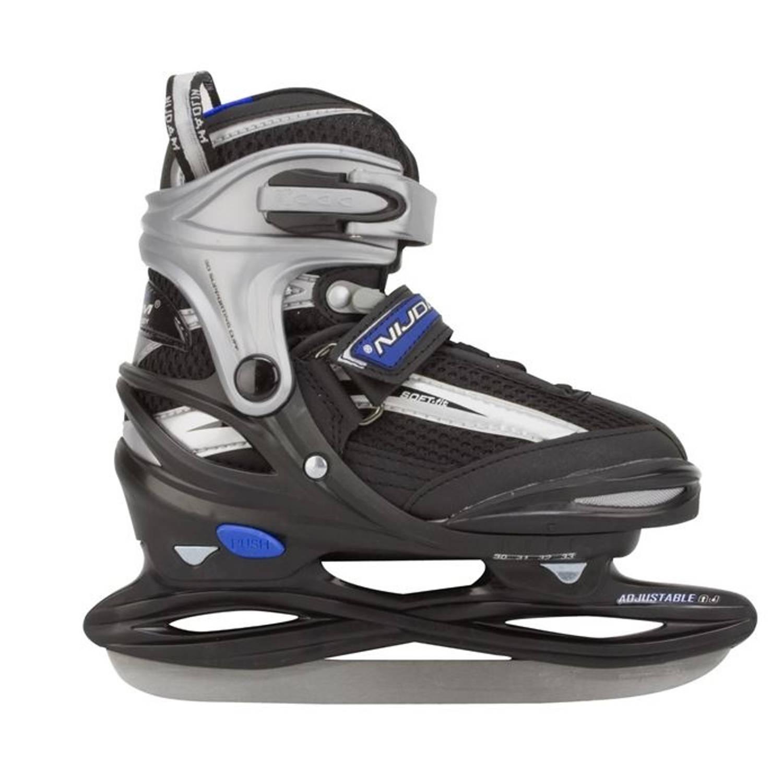 Nijdam Ijshockeyschaats 3172 Junior Zwart Zilver Maat 38/41