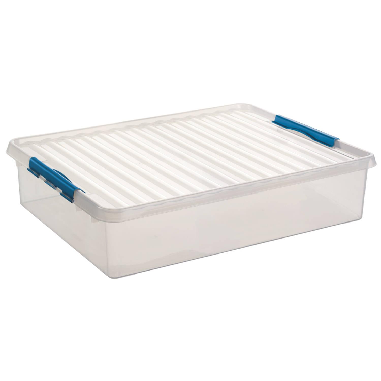Q-line Opbergbox - Bedbox - Voor onder het bed - 60L - transp/blauw