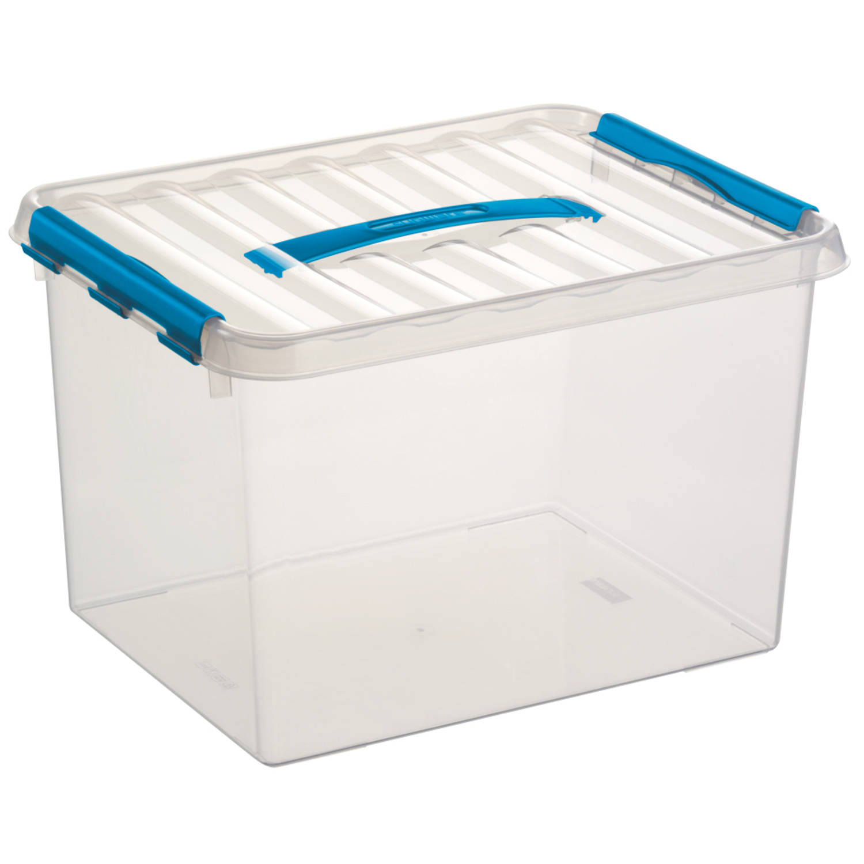 Q-line Opbergbox - 22L - transp/blauw