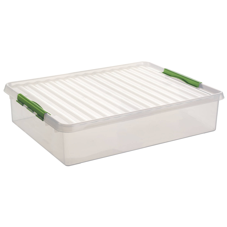 Q-line Opbergbox - Bedbox - Voor onder het bed - 60L - transp/natuur-groen